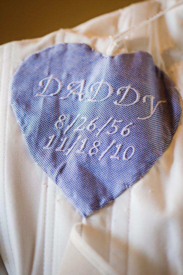 Blue Heart Sewn Into Laurens Wedding Dress