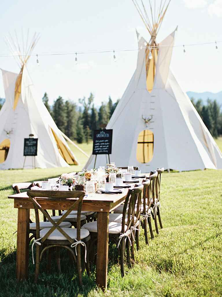 Tepee décor for a rustic camp wedding