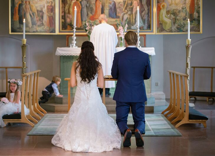 The couple had their children present for their traditional church wedding at Ängelholm Church in Ängelholm, Sweden.