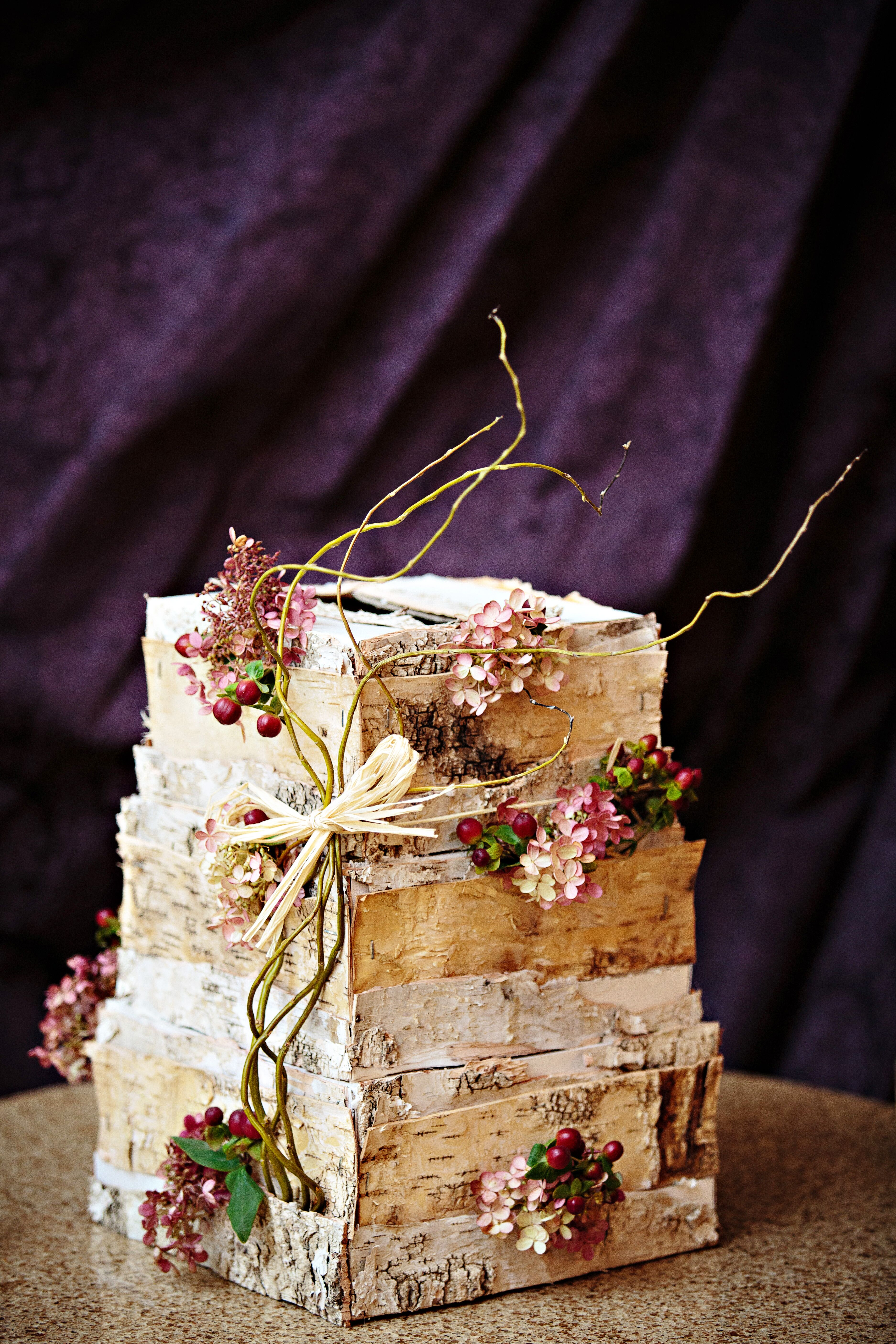 Rustic Fall Birch Bark Wedding Cake