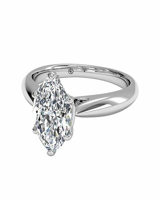 Ritani Marquise Cut Solitaire Diamond Cathedral Tapered Engagement Ring in 18kt White Gold Engagement Ring photo