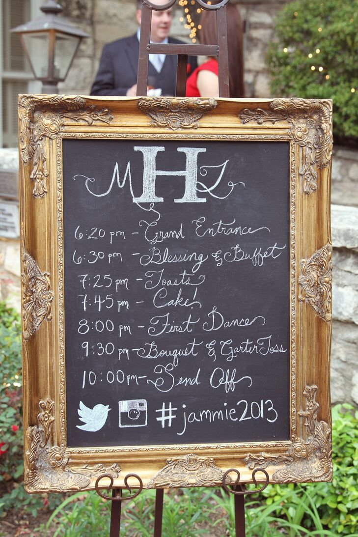 Chalkboard Reception Schedule
