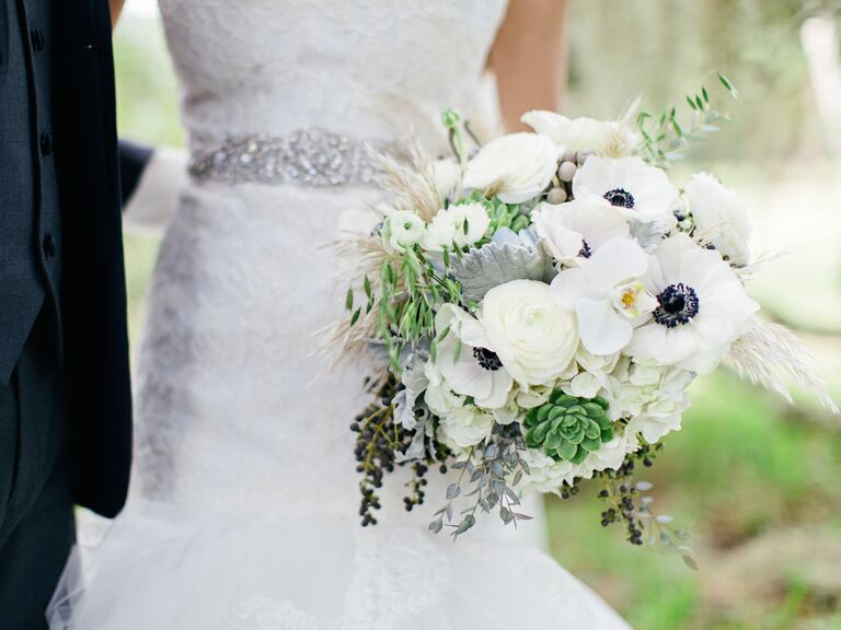 Succulent, anemone and orchid bridal bouquet