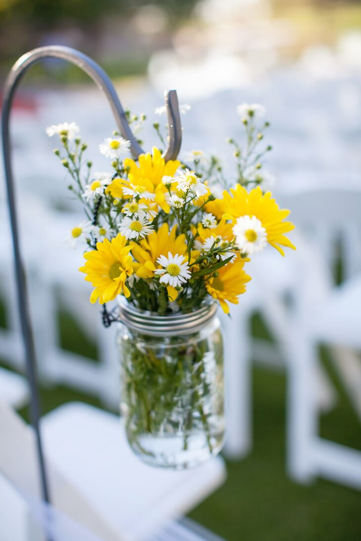 Mason Jar with Yellow and White Flower Aisle Decorations