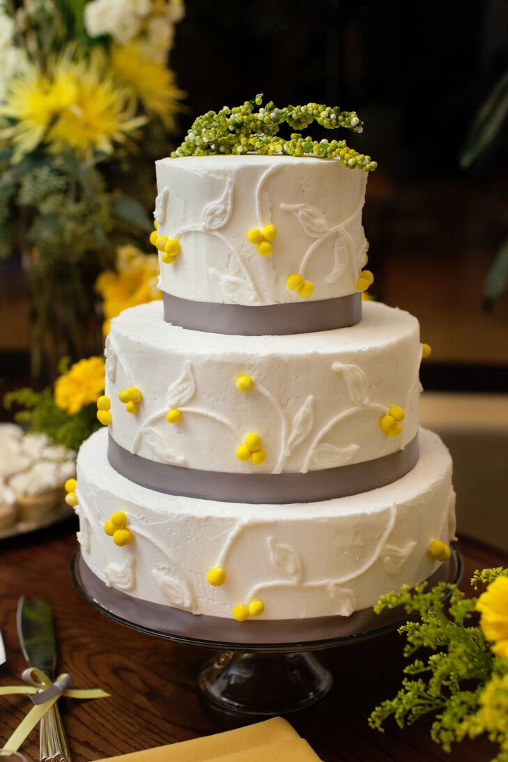 Wedding Cake With Gray Ribbon And Yellow Flowers