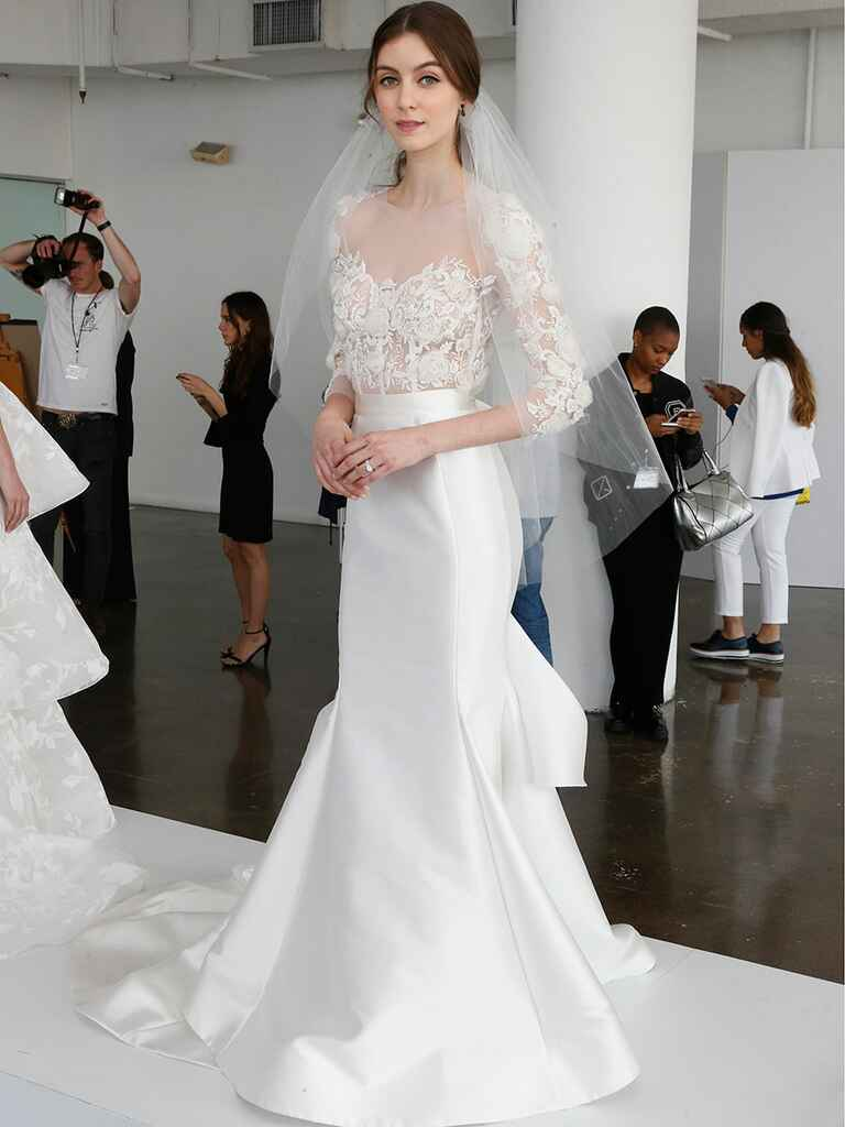 Marchesa Spring 2018 fit-and-flare wedding gown with illusion lace bodice