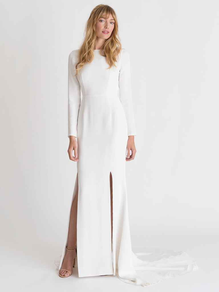Alexandra Grecco Spring/Summer 2018 long sleeve white column wedding dress with two front slits