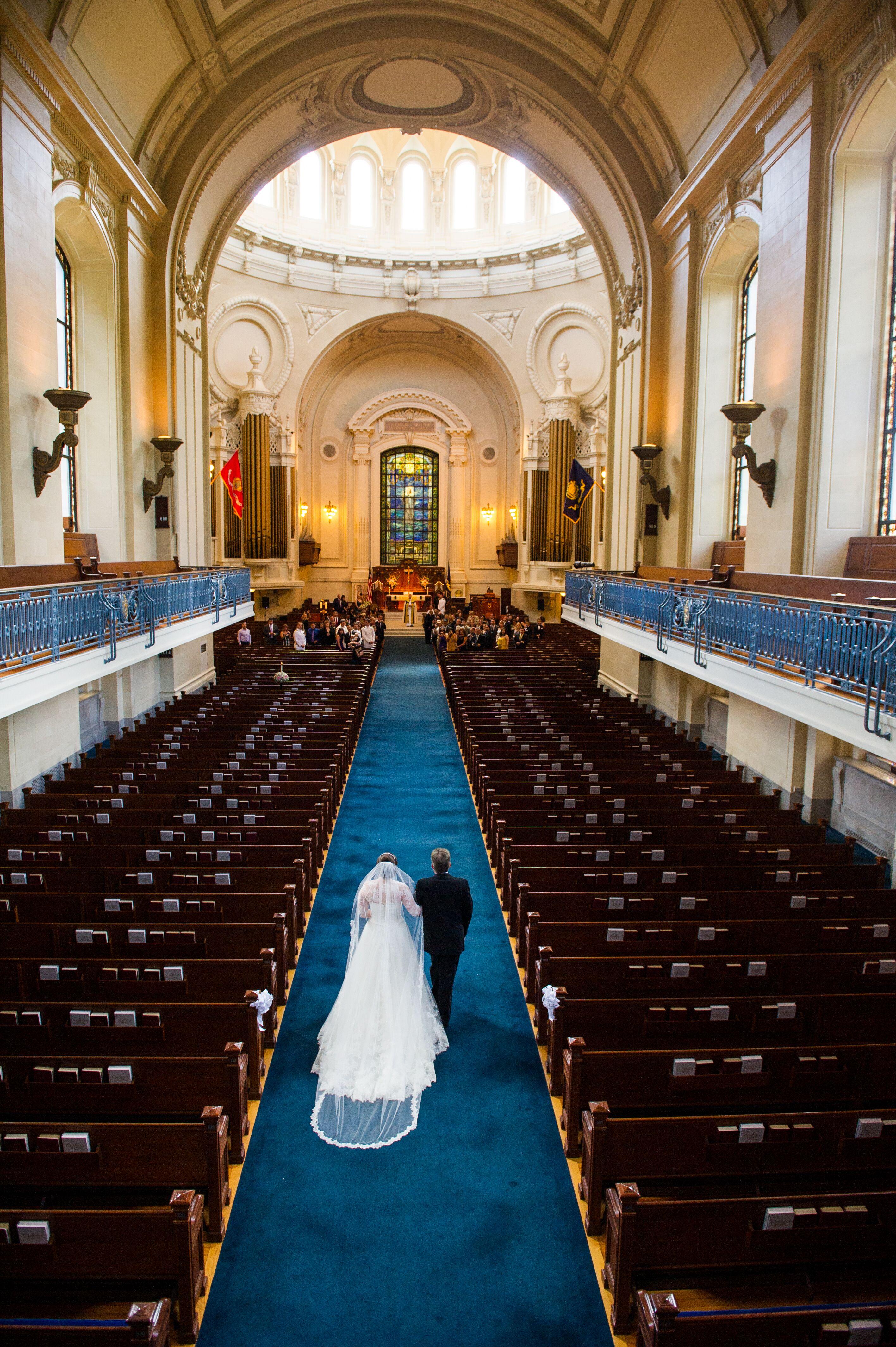 Bride In A Chapel Veil At Us Naval Academy Chapel