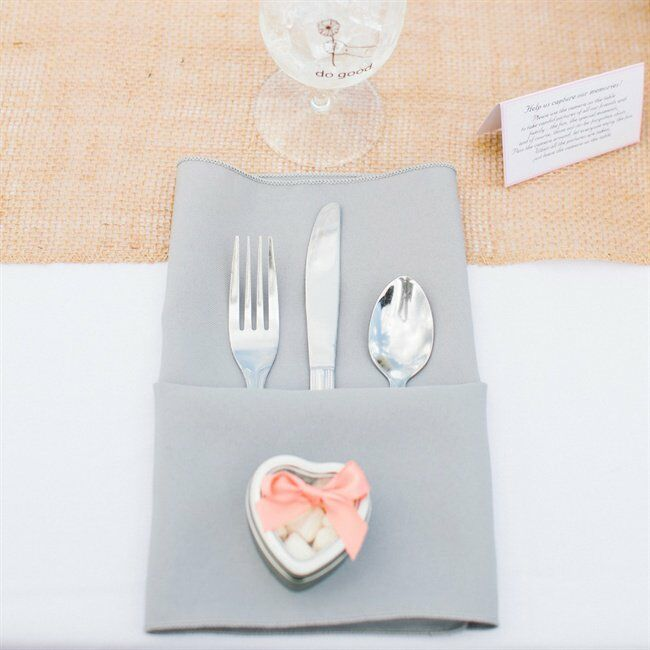 Grey Place Settings with Burlap Runner