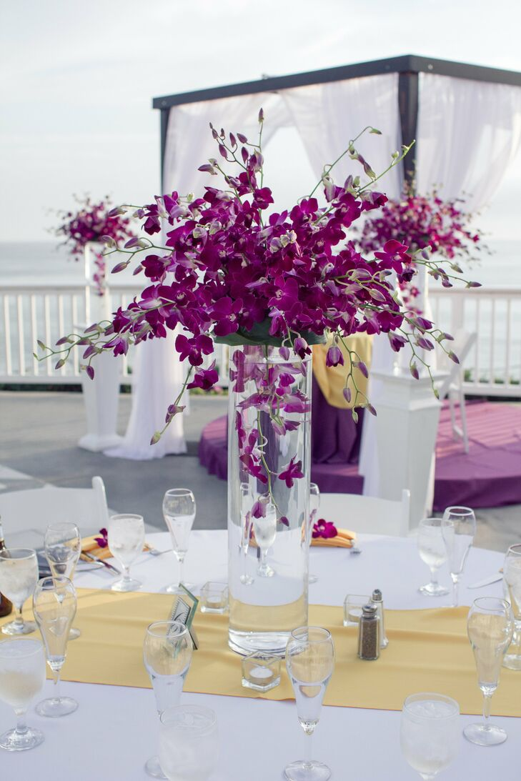 Tall purple orchid centerpieces for Orchid decor