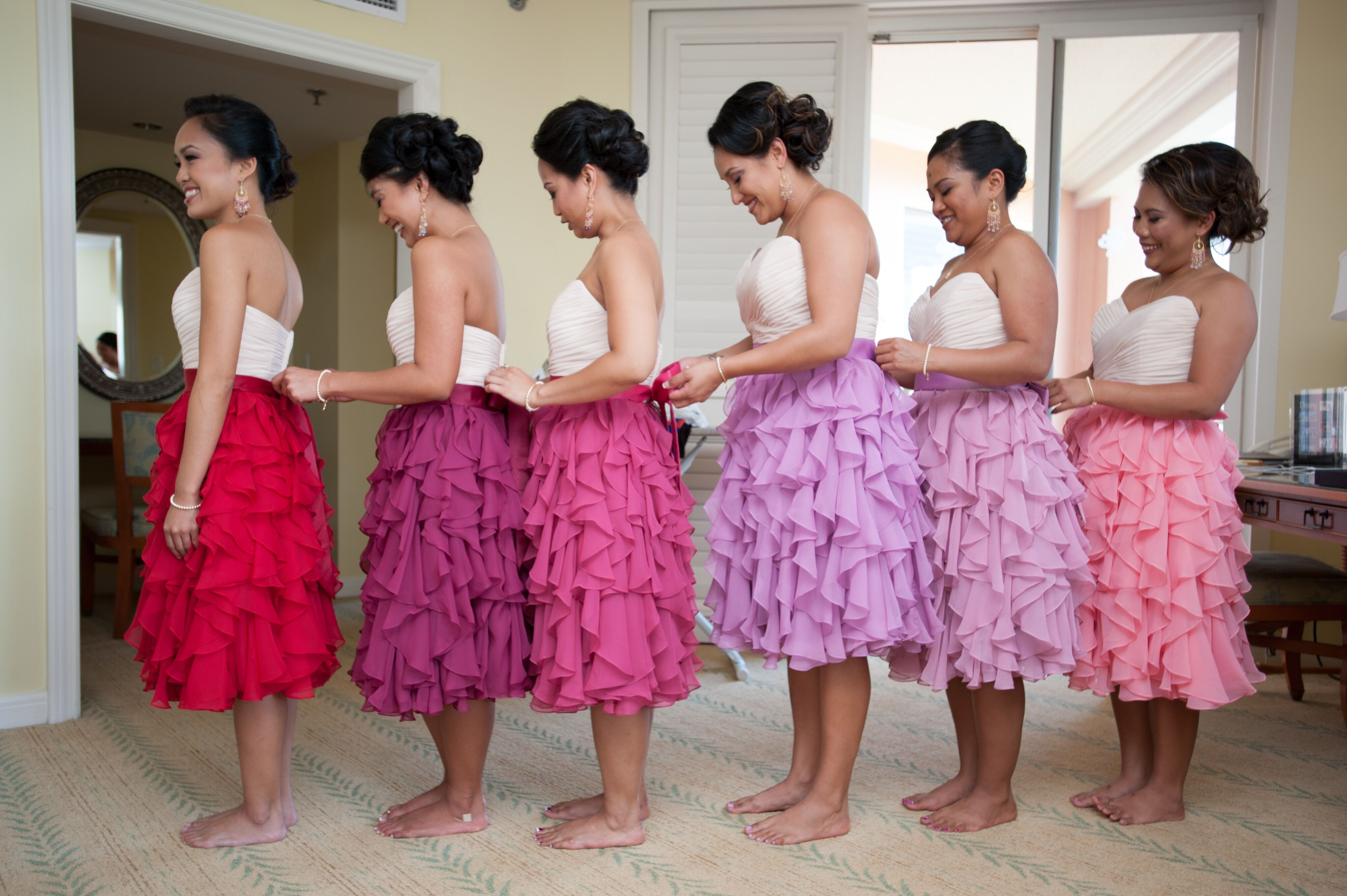 Getting Ready Ombre Bridesmaids Dresses