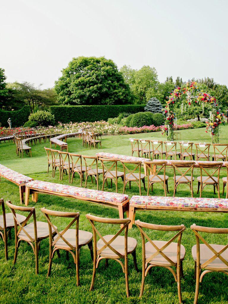 Spiral seating arrangement for wedding ceremony