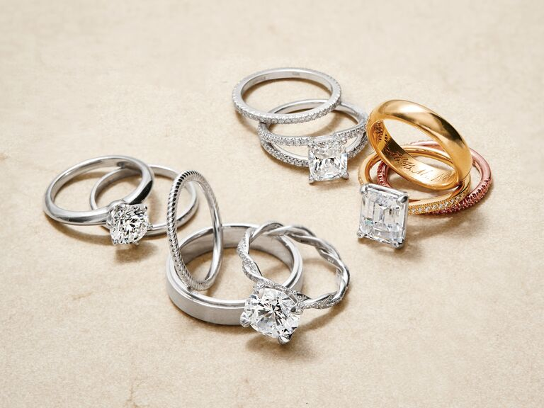 silver and gold engagement rings and engraved bands - Engagement Ring And Wedding Ring