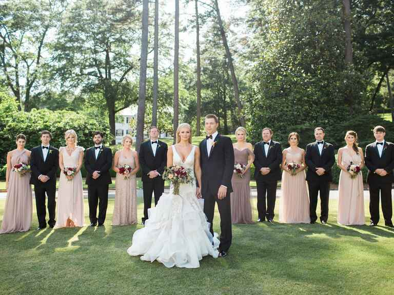 wedding party standing outdoors in Alabama