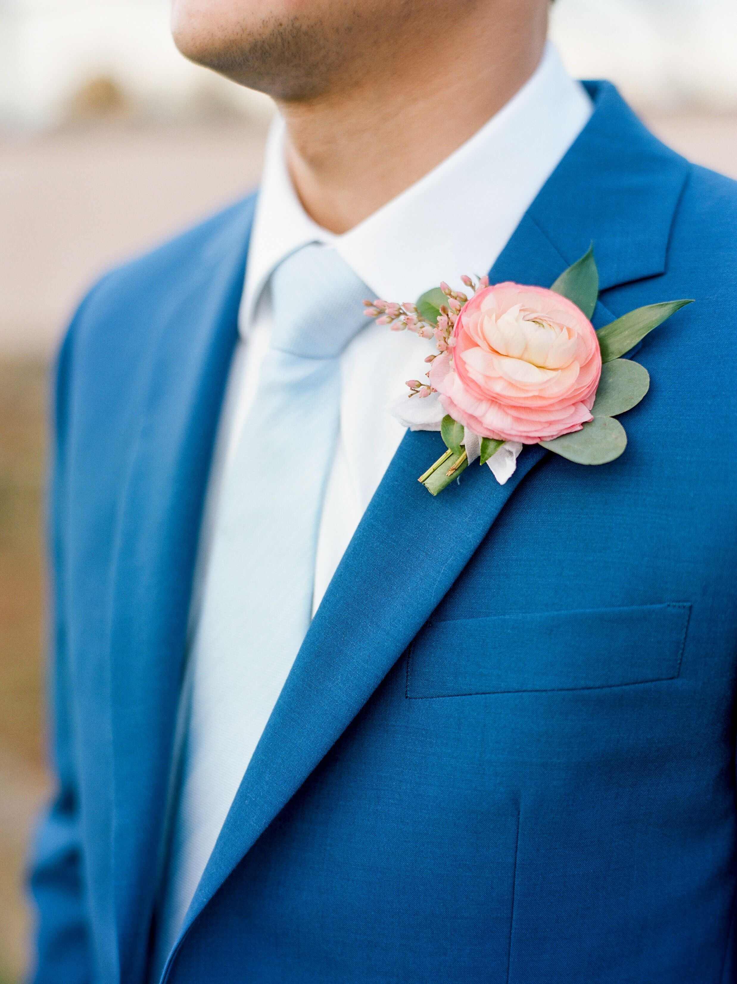 Bright Blue Groom\'s Suit