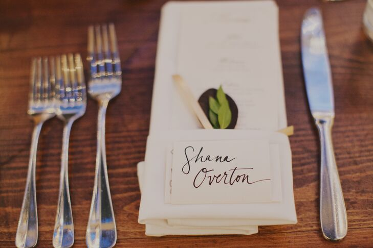 "Kerry and Ilya included hand-written notes to each guest with their place cards. ""Many friends and family helped us to get there and we wanted to make sure they knew we appreciated it!"" says Kerry."
