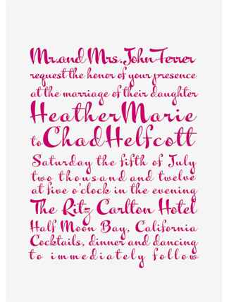 Pink Cursive Invitation
