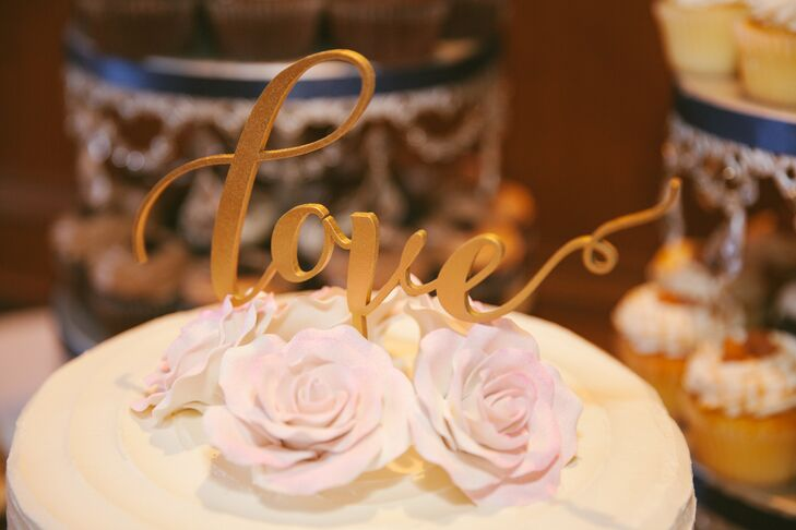 "Gold Calligraphic ""Love"" Cake Topper with Pink Roses"