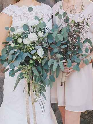 Bridal and bridesmaid bouquets with ranunculus and eucalyptus