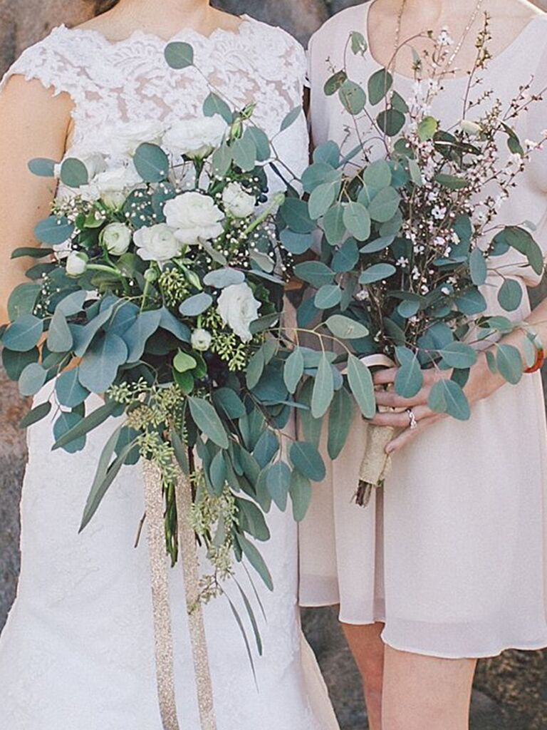 Bridal And Bridesmaid Bouquets With Ranunculus Eucalyptus