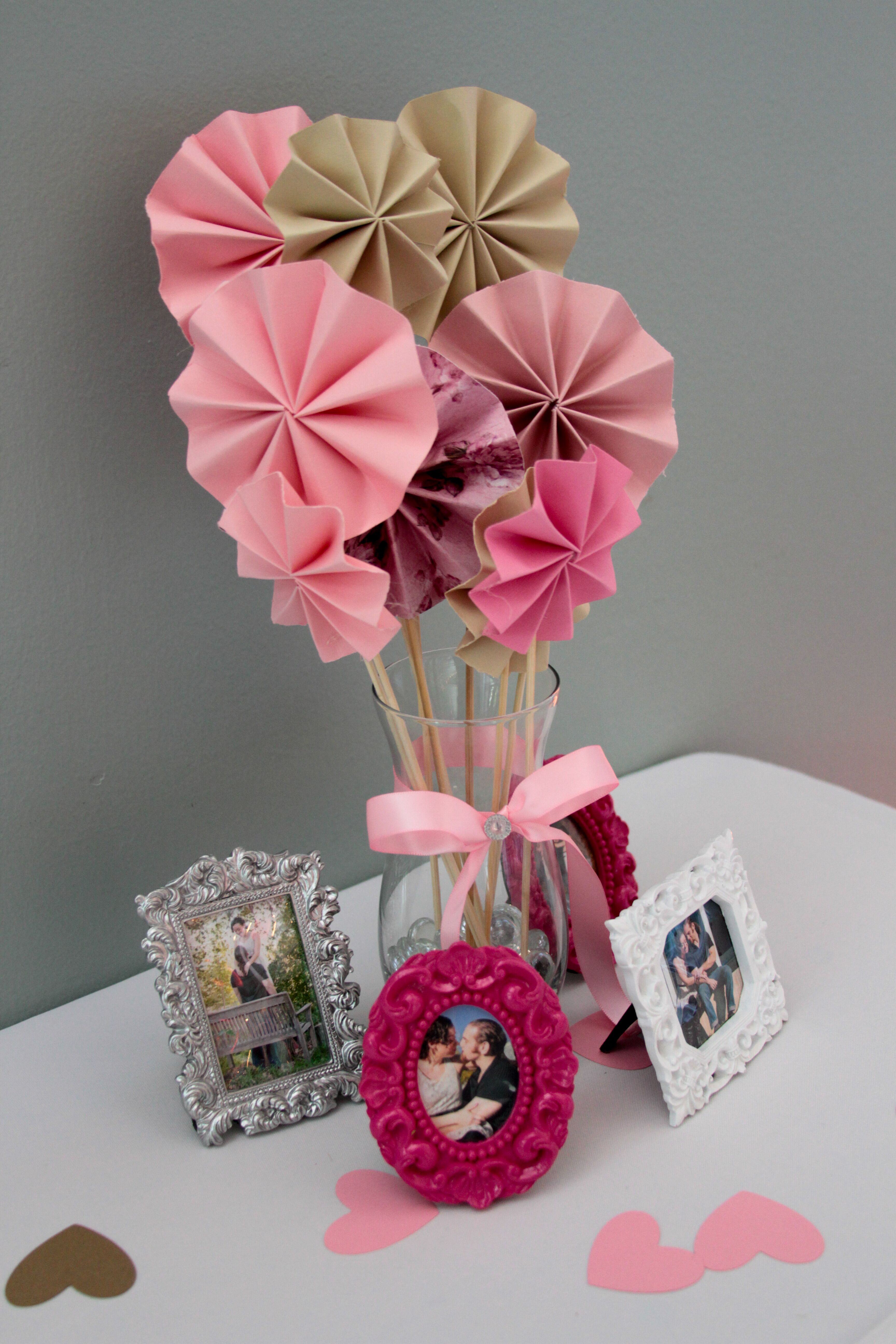 Pink and Brown Paper Pinwheel Decorations