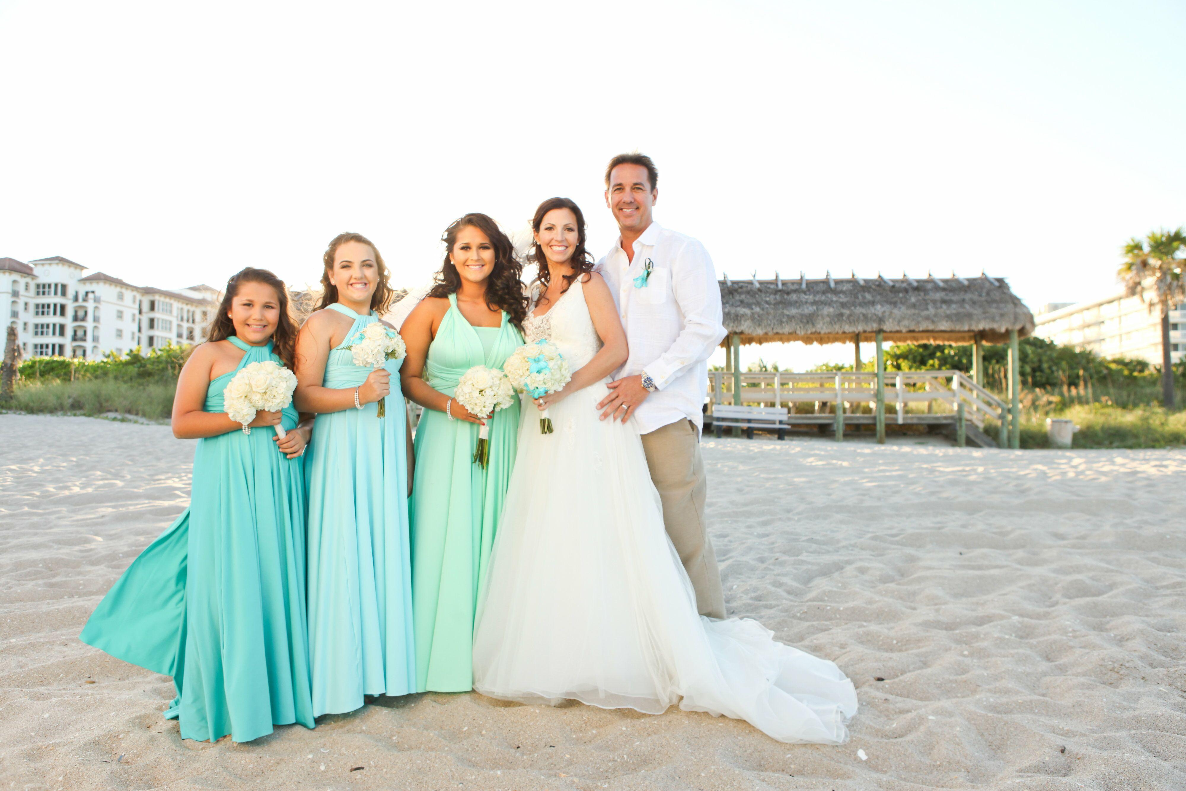 Seafoam And Blue Beach Bridesmaid Dresses