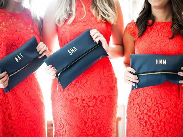 Navy blue monogrammed bridesmaid clutches
