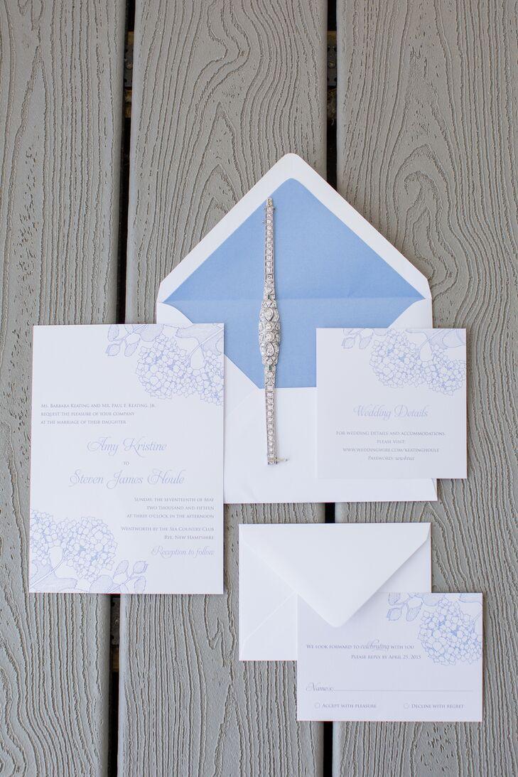 custom blue hydrangea wedding invitations