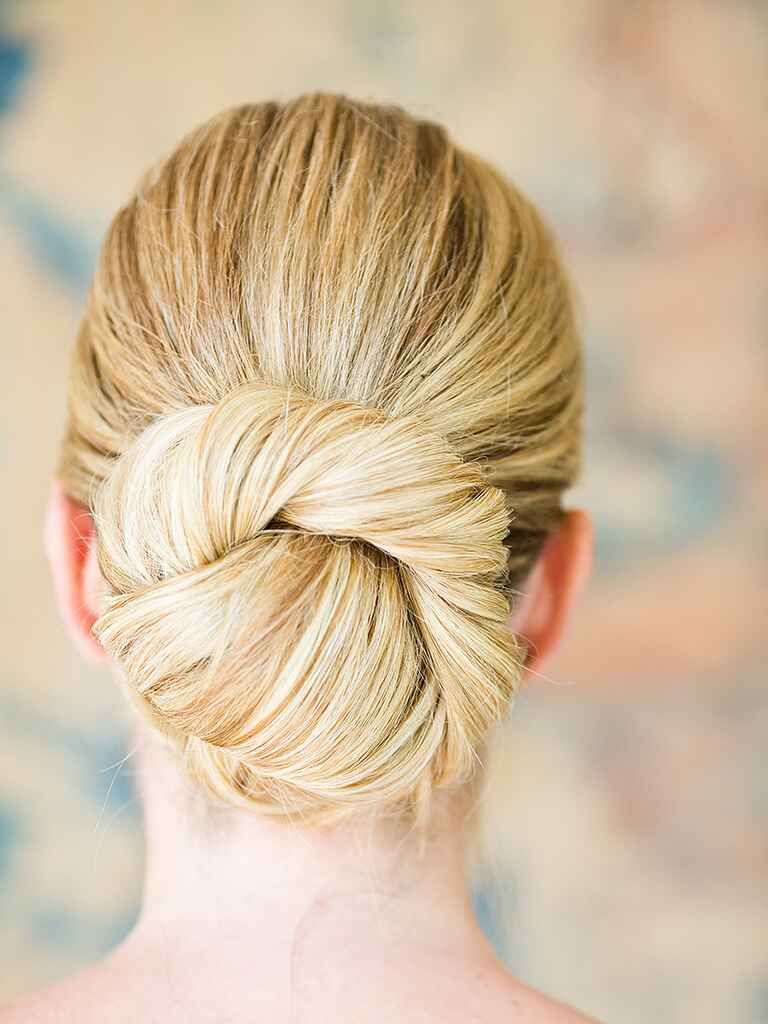 Ballerina bun updo hairstyle for brides or bridesmaids