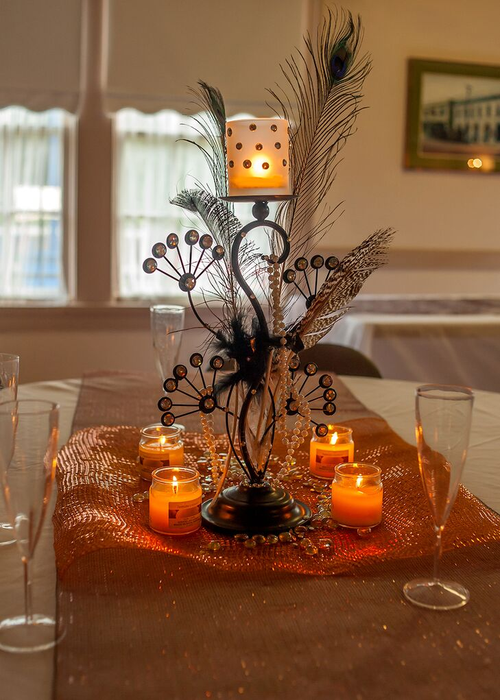 Peacock Feather and Candles Centerpieces