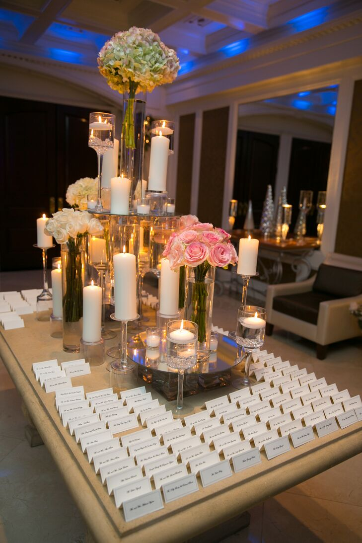 Floral and Candle Escort Card Table