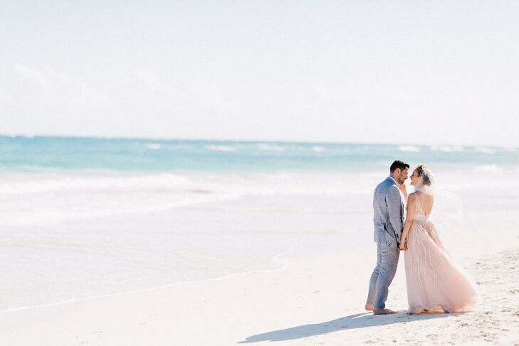 Shoes were strictly prohibited at this laid-back beach wedding! For their destination Tulum nuptials, Danielle Amedeo (34 and a voice teacher) and Jas