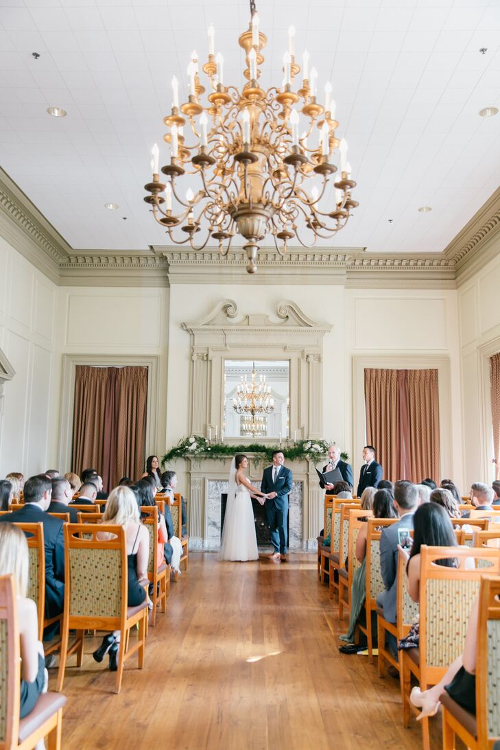 Jen and Billy exchanged vows on the top floor of Davio's, featuring a large marble fireplace, a massive crystal chandelier and polished walnut floors.