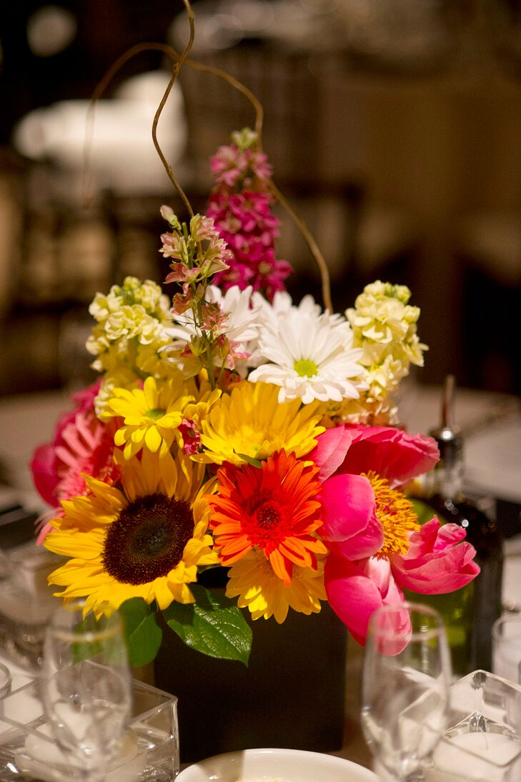Cheerful pink orange and yellow floral centerpieces - Red and yellow centerpieces ...