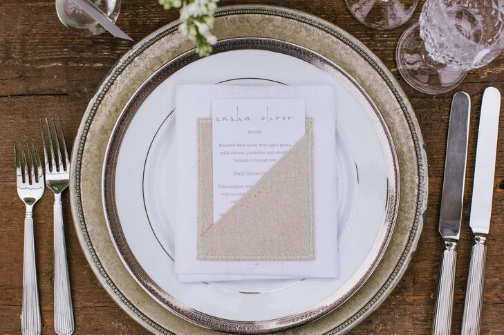 Sasha designed the day's stationery herself as well as the burlap linen pouches for the menu cards.
