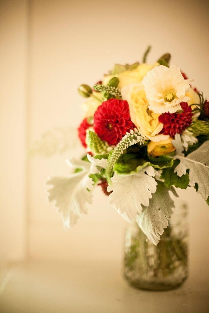 Red, Yellow and White Bridal Flower Bouquet
