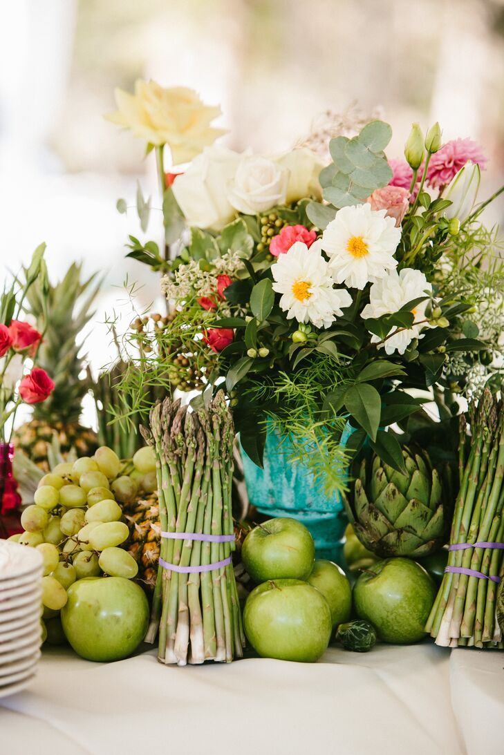 Mixed fruit vegetable and flower arrangements Floral arrangements with fruit