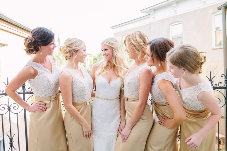 Timeless Ivory Gold Wedding With Scottish Traditions In: Formal Ivory Lace And Gold Satin Bridesmaid Dresses