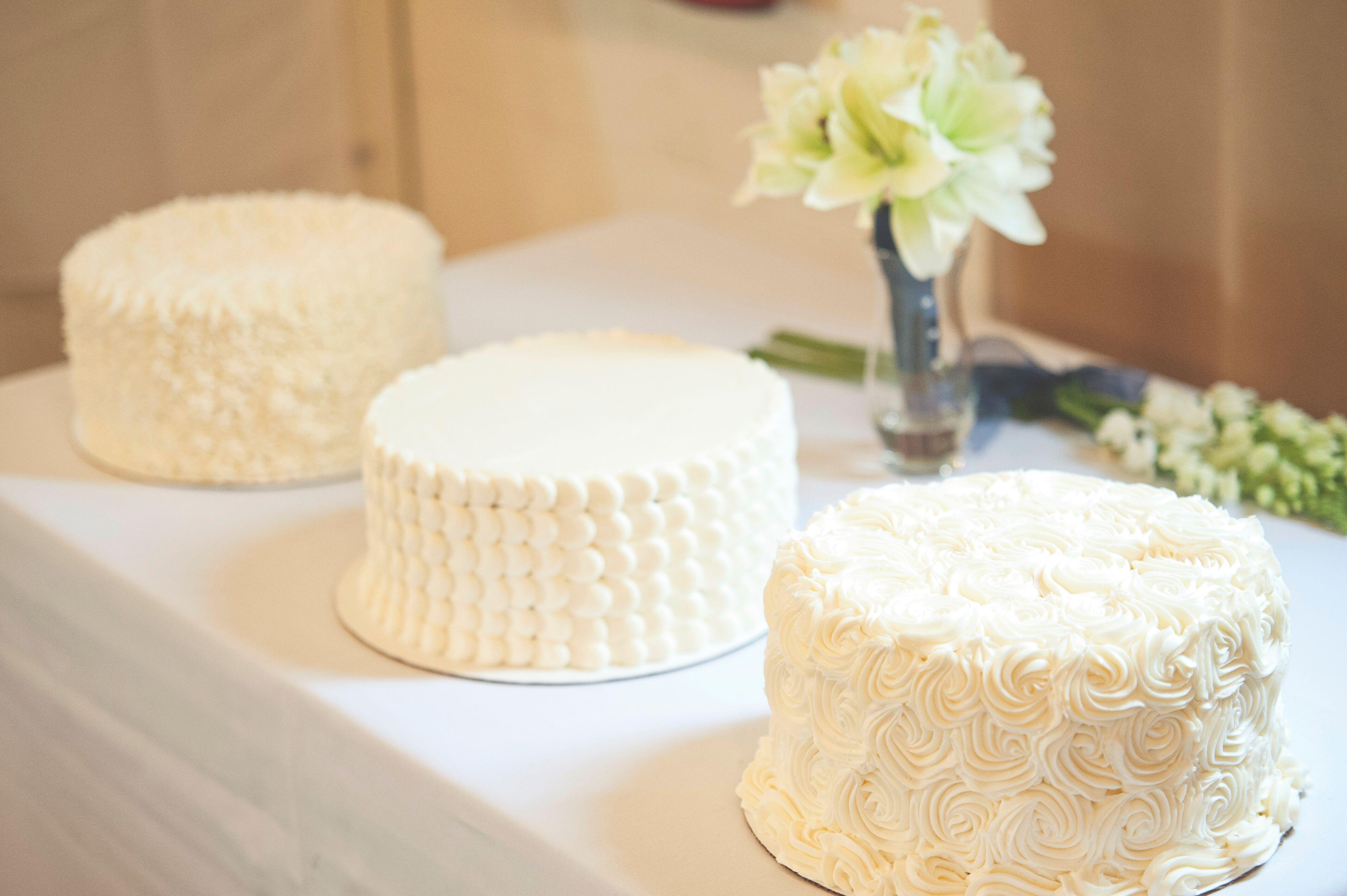 Three e Tier White Buttercream Wedding Cakes