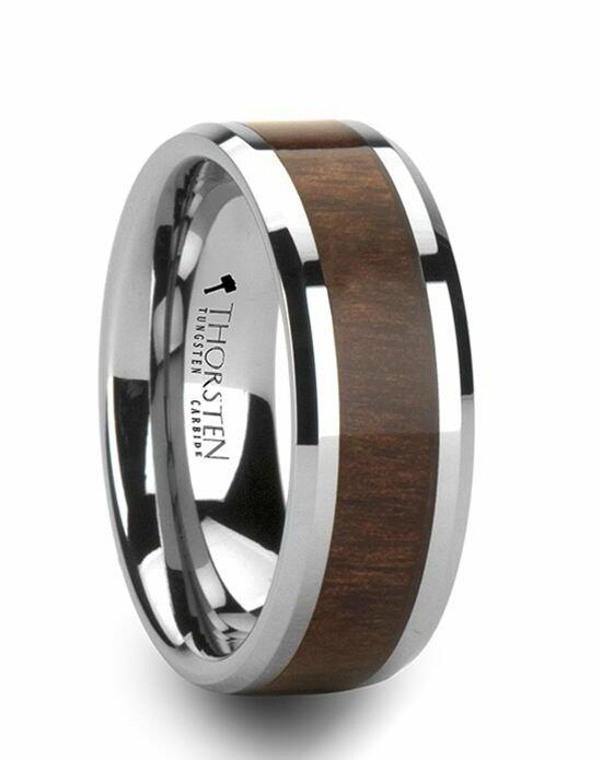 Larson Jewelers HALIFAX Tungsten Wedding Band with Bevels and Black Walnut Wood Inlay - 6 mm - 10 mm Wedding Ring photo