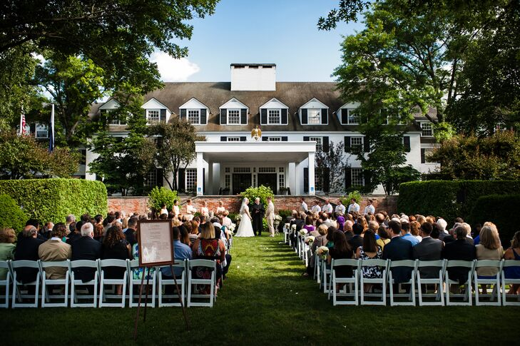 The couple's ceremony took place on the front lawn of the Woodstock Inn.