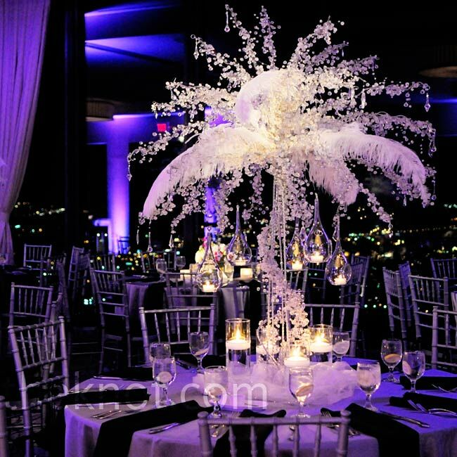 These Tall Crystal Covered Arrangements Of Branches And Feathers Were A Major Wow Factor