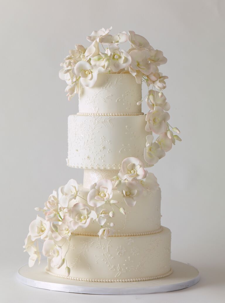 Blue Orchids Wedding Cake Design