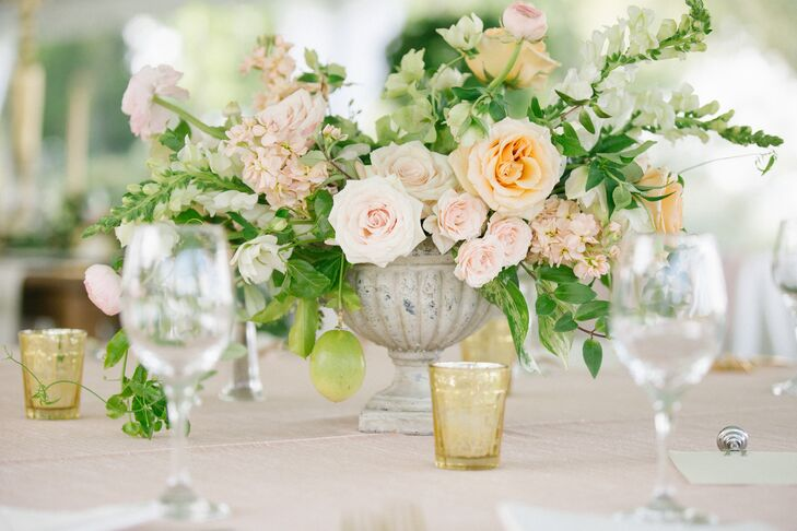 Textured Rose Bells Of Ireland Wedding Centerpieces