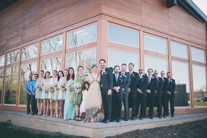 It was important to Kim and Colin that everyone involved in their wedding be as comfortable as possible so they opted against matching suits and dresses from their bridal party.