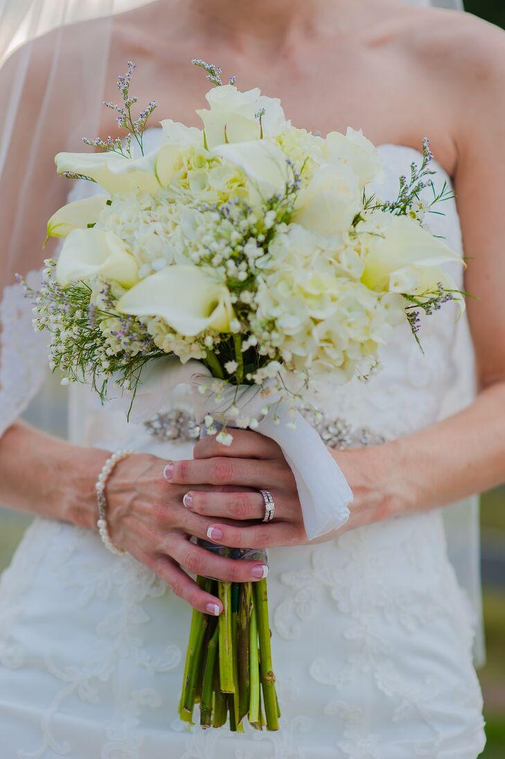 All White Calla Lily Hydrangea And Babys Breath Bouquet