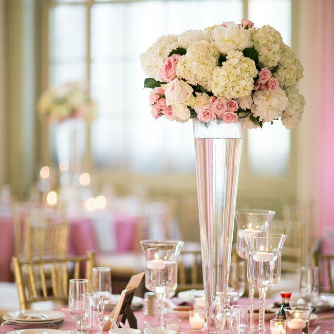 Pink Flower Centerpieces For Weddings: Tall Pink And White Centerpieces