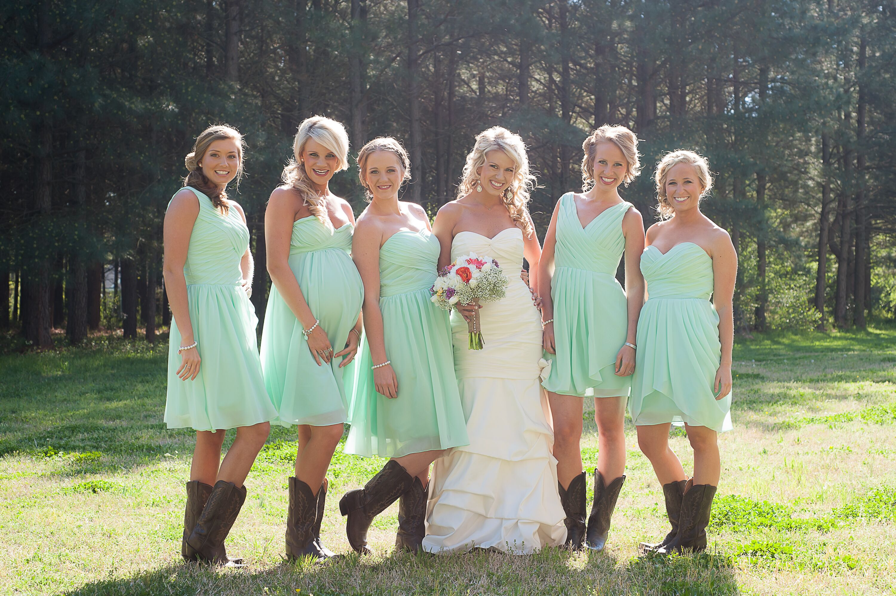 Bridesmaids in Mint Dresses With Cowboy Boots