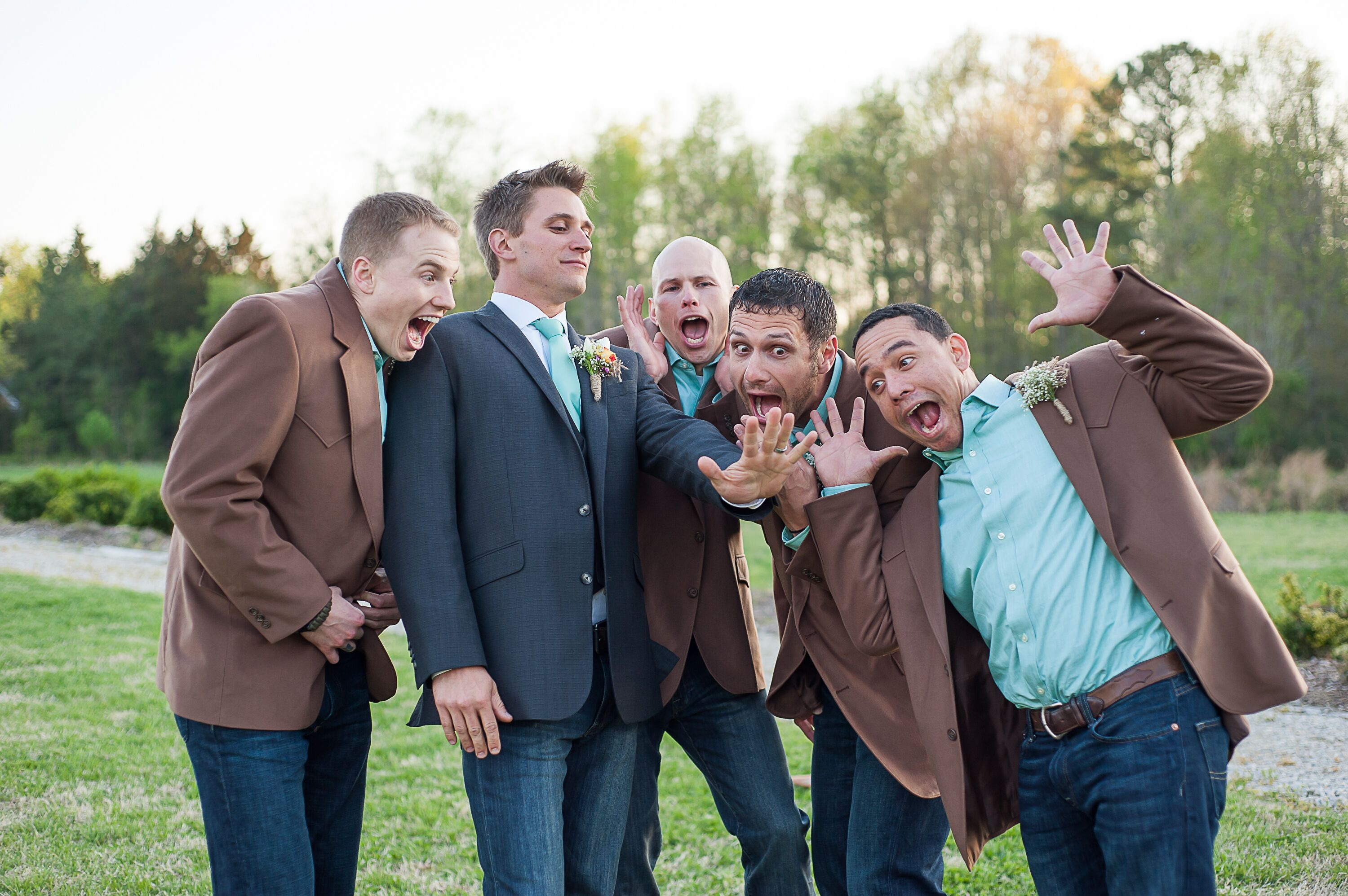 Groomsmen In Jeans And Brown Blazers