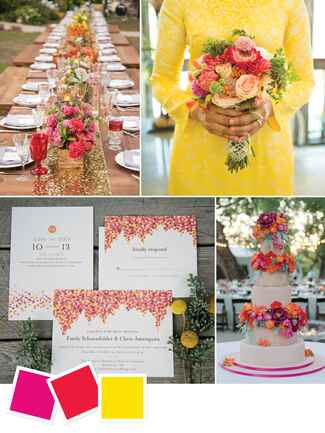 Bright, colorful outdoor wedding color palette